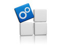 Blue cube with gear wheels symbol on boxes sign d white grey technical support concept Stock Photos