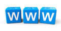 Blue cubes with www letters Stock Image