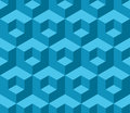 Blue cubic geometric seamless pattern Royalty Free Stock Photo