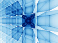 Blue cubic perspective Royalty Free Stock Photography