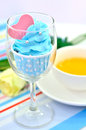 Blue cup cake Stock Photos