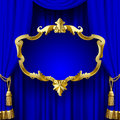 Blue curtain with a decorative gold baroque frame Royalty Free Stock Photo