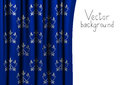 Blue curtain with floral pattern Royalty Free Stock Photography
