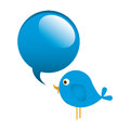 blue cute cartoon bird animal icon with dialog bubble icon Royalty Free Stock Photo