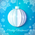 Blue cutout paper christmas ball in origami style vector greeting card Stock Images