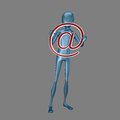 Blue d humanoid holding symbol heands isolated gray background Royalty Free Stock Photography