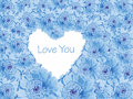 Blue daisy background with love heart light of cutout gerbera shaped copy space and message you Stock Photography