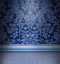 Blue Damask Room Stock Images