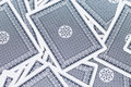 Blue deck of playing cards background stock photo Stock Photo