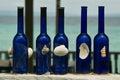 Blue decorative bottles Stock Photo