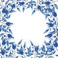 Blue decorative branches card design. Hand drawn watercolor.