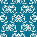 Blue decorative seamless pattern and white with flourshes Stock Photography