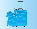 Blue decorative suitcase holiday backround Royalty Free Stock Image