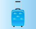 Blue decorative suitcase holiday backround Royalty Free Stock Photos