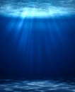 Blue deep water vertical abstract natural background. Royalty Free Stock Photo