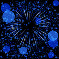 Blue defocused fireworks Stock Photos