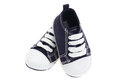 Blue denim baby shoes Stock Photography