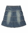 Blue denim skirt is on white background Royalty Free Stock Photo
