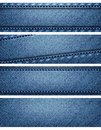 Blue denim texture headers illustration of header banner collection on white background Stock Photography