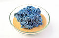 Blue desert rose piece of sahara in a glass bowl mineral on yellow sahara sand Royalty Free Stock Photography