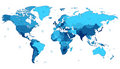 Blue detailed World map Royalty Free Stock Photo