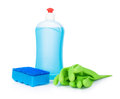 Blue detergent, sponge blue and light green gloves Royalty Free Stock Photo