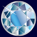 Blue diamond illustration shiny brilliant on dark background Royalty Free Stock Images