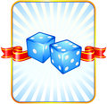 Blue Dice on Ribbon Background Royalty Free Stock Photo
