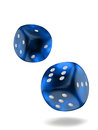 Blue dice two isolated on white background with clipping path Royalty Free Stock Photo
