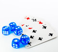 Blue dices and cards on white background Royalty Free Stock Photo