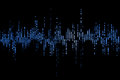 Blue digital equalizer audio sound waves on black background, stereo sound effect signal Royalty Free Stock Photo