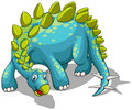 Blue dinosaur with spikes tail Royalty Free Stock Photo