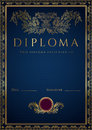 Blue Diploma / Certificate background with border Royalty Free Stock Photo