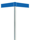 Blue direction road signs, two empty blank signpost signages, isolated directional roadside guidepost pointer copy space Royalty Free Stock Photo