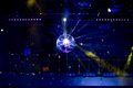Blue disco background with mirror ball Royalty Free Stock Photo