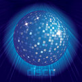 Blue disco ball on dark background Stock Image
