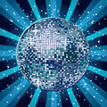Blue disco ball sparkling in Royalty Free Stock Image