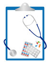 Blue doctor clipboard pills tablets stethoscope isolated white background Stock Image