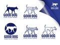 Blue dog logo vector design elements style