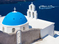 Blue dome church santorini greece at firostefani near fira on thira island Royalty Free Stock Photography