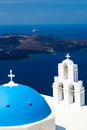 Blue dome church santorini greece at firostefani near fira on thira island Royalty Free Stock Images