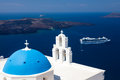 Blue dome church santorini greece at firostefani near fira on thira island Royalty Free Stock Photo