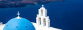 Blue dome church santorini greece at firostefani near fira on thira island Stock Photos
