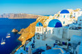 Blue dome churches in Oia Royalty Free Stock Photo