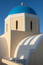 Blue dome in oia of the greek orthodox agios georgios church santorini island greece Royalty Free Stock Image