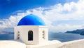 Blue domed church oia santorini greece beautiful overlooking the aegean sea at europe Royalty Free Stock Photos