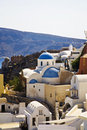 Blue Domed Church, Santorini, Greece Stock Photography