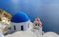 Blue domed church in santorini greece a beautiful the romantic island of Royalty Free Stock Image
