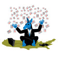 Blue Donkey Democrat meditates to vote in elections on USA map. Royalty Free Stock Photo