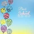 Blue doodle card Welcome back to school Royalty Free Stock Photo